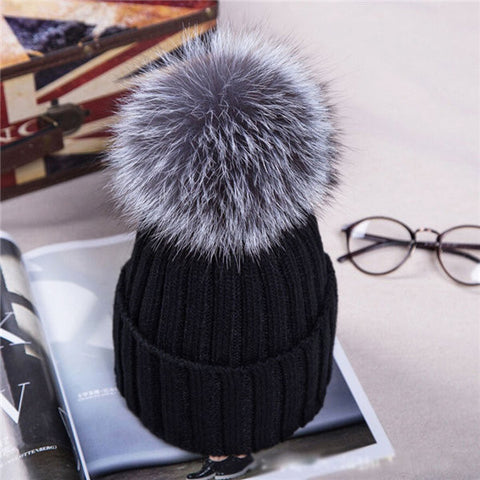 Fashion Thicken Wool Knitted Warm Winter Cap Large Fur Ball Beanie Bobble Ski Hat
