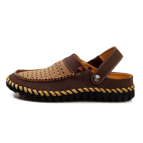 Men Two Way Wearing Hollow Out Breathale Slip On Leather Beach Sandals Slippers