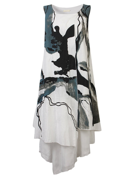 Vintage Printing Fake Two Pieces Loose Dress For Women