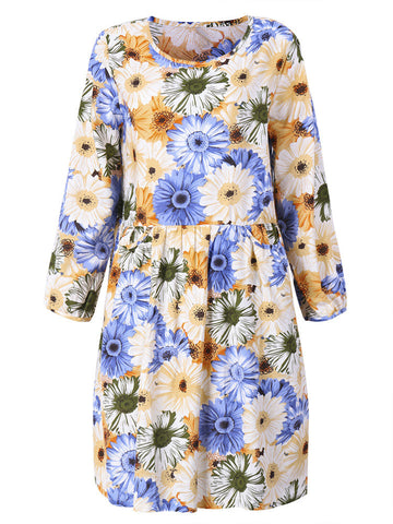 Casual Flower Printed Pocket Ruffle A-Line Dress For Women