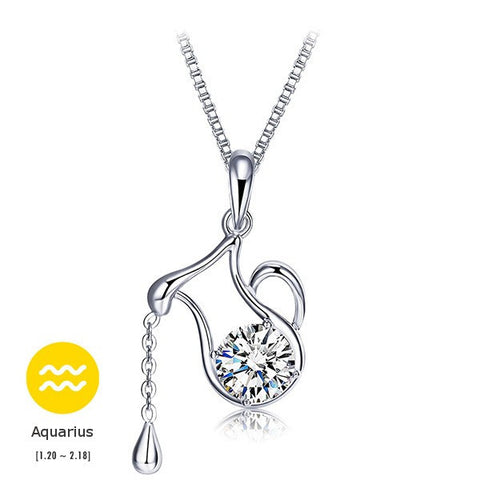 12 Constellations 925 Sterling Sliver Crystal Pendant Necklace