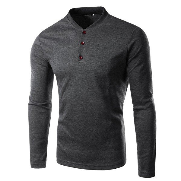 Men's Autumn Solid Color Long Sleeve O-neck Button Slim Fit Casual T-shirt