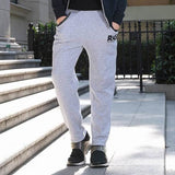 Men's Lace Up Sports Trousers Elastic Slim Fit Plush Lining Thick Sweatpants