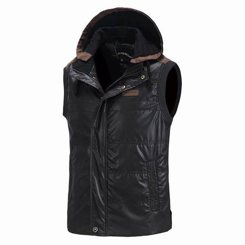 Jeep Rich Men's Cotton Padded Waistcoat Detachable Hooded Vest