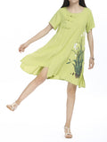 Women Vintage Short Sleeve Pankou Embroidered Printed Linen Dress