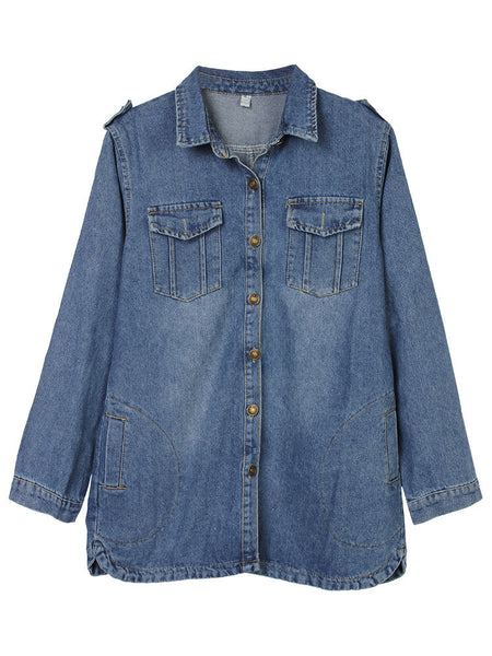Casual Button Pockets Frayed Denim Jacket For Women