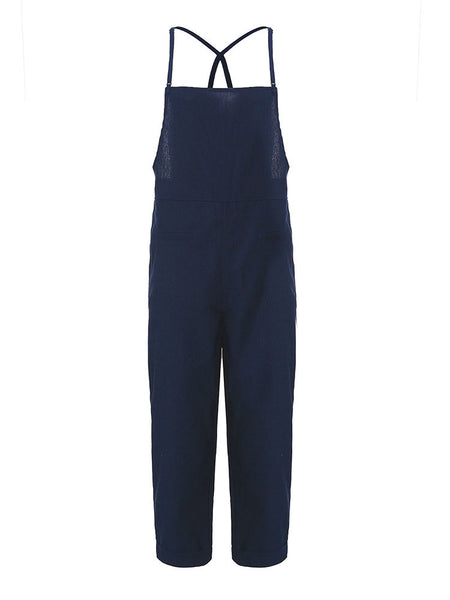 Loose Solid Strap Jumpsuit Dungaree Haren Overall Romper For Women