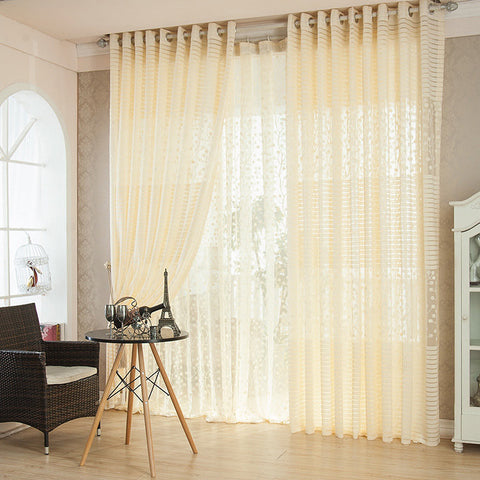 2 Panel Punching Breathable Jacquard Voile Sheer Curtains Window Screening Home Decor