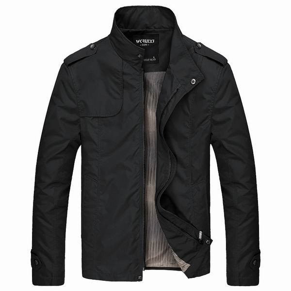 Men's Fashion Outwear Stand Collar Solid Color Windproof Light Jacket