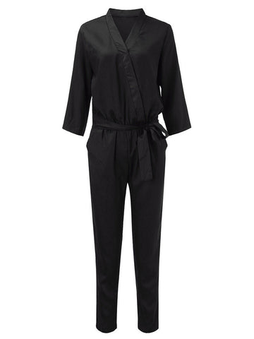 Women Belt Pocket Solid Three Quarter Sleeve V Neck Jumpsuits