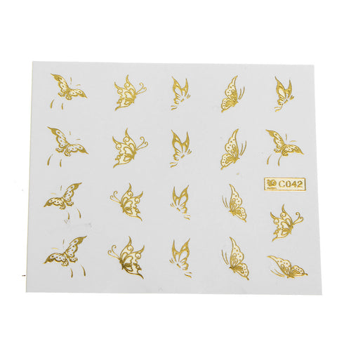 1 Sheet Gold Butterfly Nail Art Stickers Transfer Decals DIY Decoration Manicure Tips