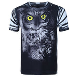 Summer 3D Cartoon Owl Printing Animal Personality Exaggerated O-neck T-shirt For Men