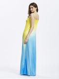 Women Strap O Nekc Gradient Maxi Dress Evening Party Dress