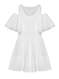 Women Off Shoulder Ruffle Pure Color Chiffon Patchwork A-line Mini Dress