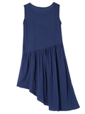 Vintage Women Sleeveless Embroidery Ruffle Irregular Cotton Linen Dress