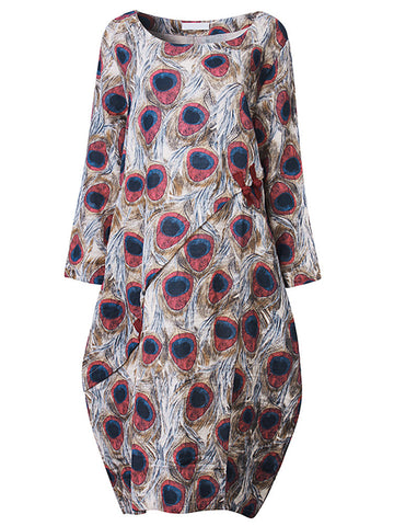 Casual Women Long Sleeve Printed O Neck Loose Dress