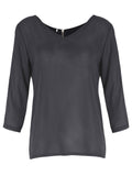 Women Half Sleeve V Neck Pure Color Back Zipper Chiffon T-shirt