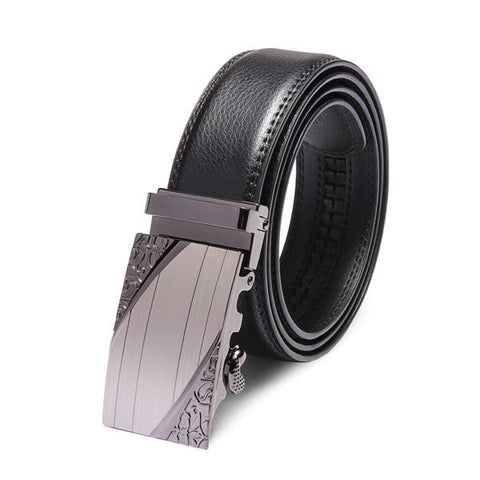 120cm Casual Leather Black Automatic Buckle Men's Belt - shechoic.com
