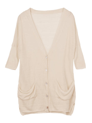 Casual Solid V-Neck Button Thin High Low Cardigan For Women