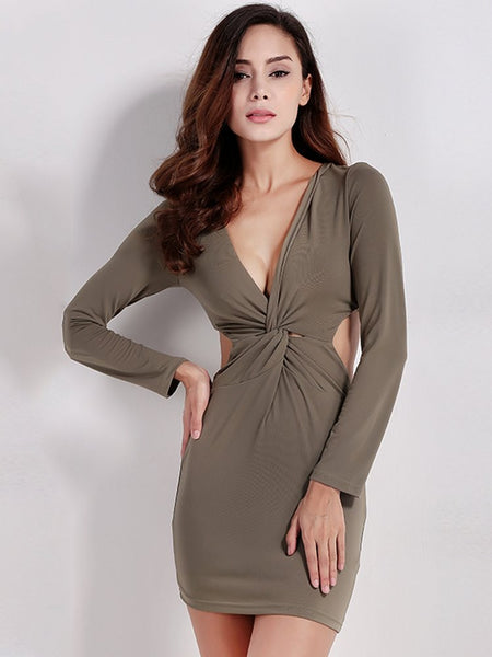 Women Sexy Deep V Twist Bodycon Backless Zipper Slim Long Sleeve Mini Dress