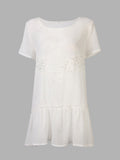 Women Chiffon Lace Short Sleeve Loose Mini Shirt Dress