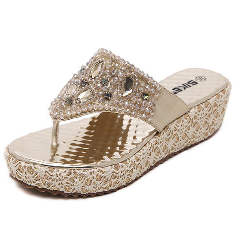 Bead Crystal Shiny Stripe Clip Toe Platform Beach Sandals Flip Flops