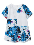 Vintage Women Printed Patchwork Short Sleeve Cotton Linen Blouse