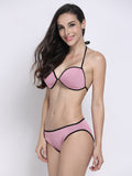 Women Sexy Halter Neoprene Bikini Sets Low Waist Bathing Suit Swimwear