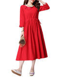 Women Vintage 3/4 Sleeve O Neck Plate Buttons Pure Color Dress