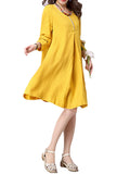 Vintage Women Long Sleeve Pure Color Button Loose Dress