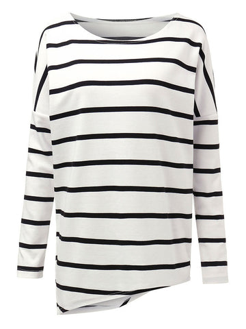 Casual Asymmetrical Loose Stripe Long Sleeve Women T-Shirt