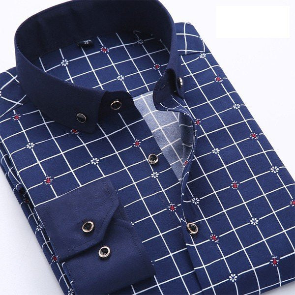 f284707a9c Men s Polka-dot Grid Printed Slim Casual Long-sleeved Business Dress Shirts