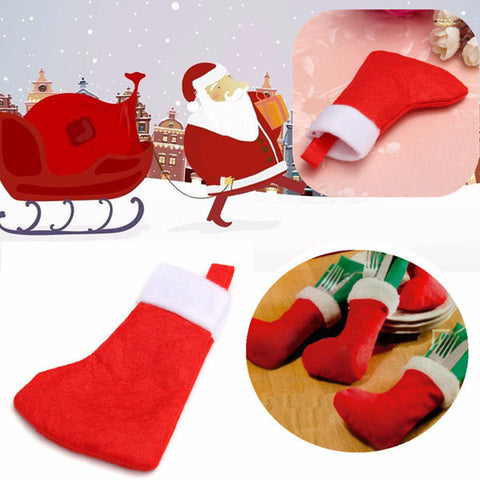 Christmas Santa Claus Sock Stockings Dinning Cutlery Holder Tableware Decoration