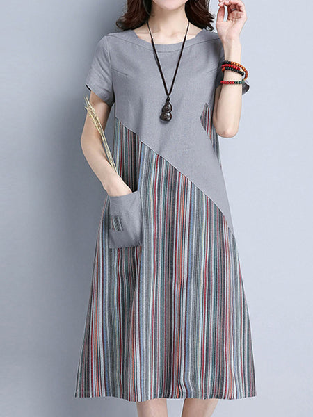 Striped Patchwork Short Sleeve O Neck Pocket Women Dresses