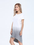 Casual Women Gradient Cotton Short Sleeve O-neck Loose Dress