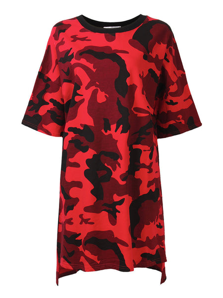 Women Short Sleeve Camouflage Printed Loose Shirt Dress