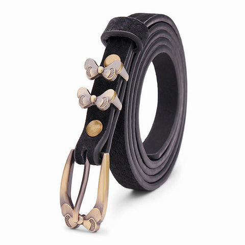 Female Bowknot Flower Pigskin Leather Thin Waist Belt Pin Buckle Strip