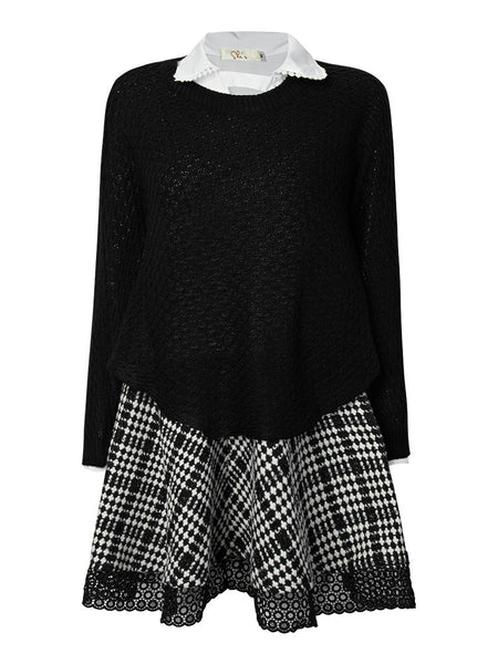 Spring Women Batwing Plaid Long Sleeve Turn-Down Collar Loose Two Piece Dress