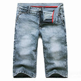 Summer Men's Casual Vintage Jeans Slim Fit Stretch Straight Denim Bermuda Shorts