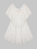Elegant Short Sleeve Lace Hollow Asymmetrical Dress For Women