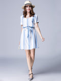Elegant Women Contrast Color Stripe Party Mini Dress With Belt