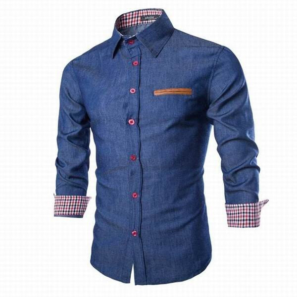 Mens Denim Washed Slim Fit Long Sleeved Casual Dress Shirts Casual Cotton Shirts