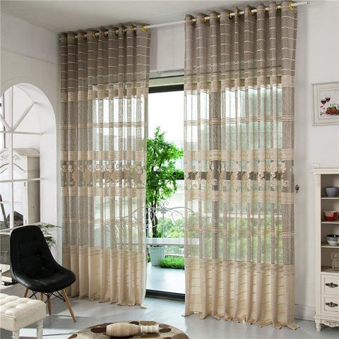 2 Panel Gray Jacquard Window Screening Sheer Curtains Hollow Out Bedroom Living Room Home Decor