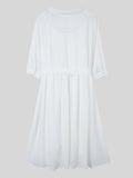 Elegant Women Half Sleeve Single Breasted Turn-Down Collar Loose White Chiffon Dress