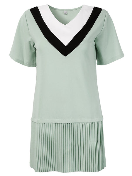 Women Short Sleeve V Neck Pleated Mini Dress