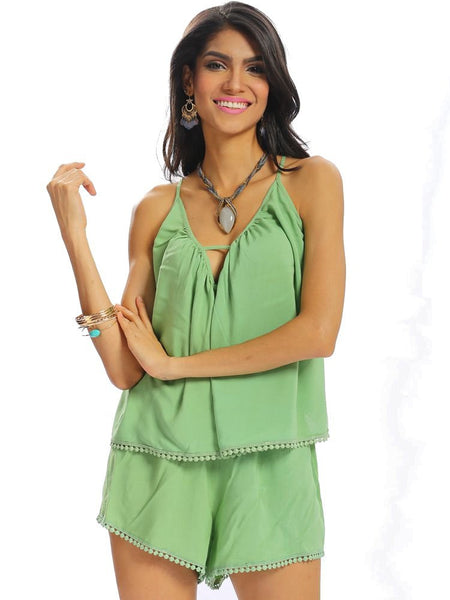 Women Casual Halter Lace-up Bangage Loose Solid Color V-neck Short Suit