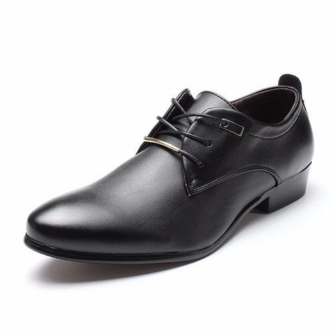 Men European Style Pointed Toe Lace Up Flat Oxford Formal Business Shoes