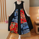 Vintage Women Patchwork Sleeveless Printed Hooded Maxi Dresses