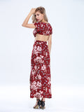 Sexy Women Backless Slit Floral Printed V Neck Beach Maxi Dress