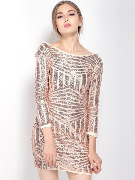 Women Sexy Backless Asymmetric Stripe Sequined Three Quarter Sleeve O Neck Mini Dress